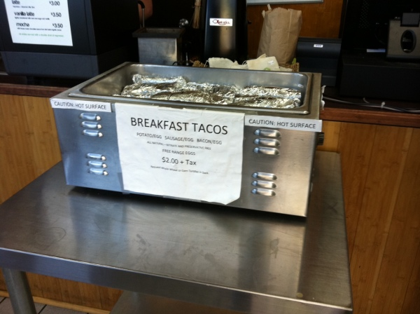 Breakfast Tacos at The Green Spot